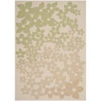 Martha Stewart by Safavieh Field Flowers Sweet Pea / Beige / Green Area Rug - 4' x 5'7
