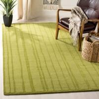 Martha Stewart by Safavieh Freehand Stripe Mossy Rock / Green Wool Area Rug - 4' x 6'