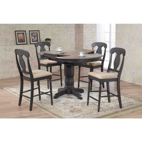 """Iconic Furniture Company 42x42""""x60 Antiqued Grey Stone/Black Stone Napoleon Back Upholstered Counter Height 5-Piece Dining Set"""