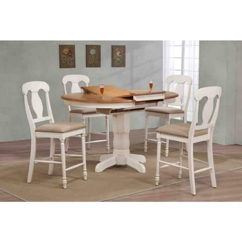 """Iconic Furniture Company 42x42""""x60 Antiqued Caramel/Biscotti Napoleon Back Upholstered Counter Height 5-Piece Dining Set"""