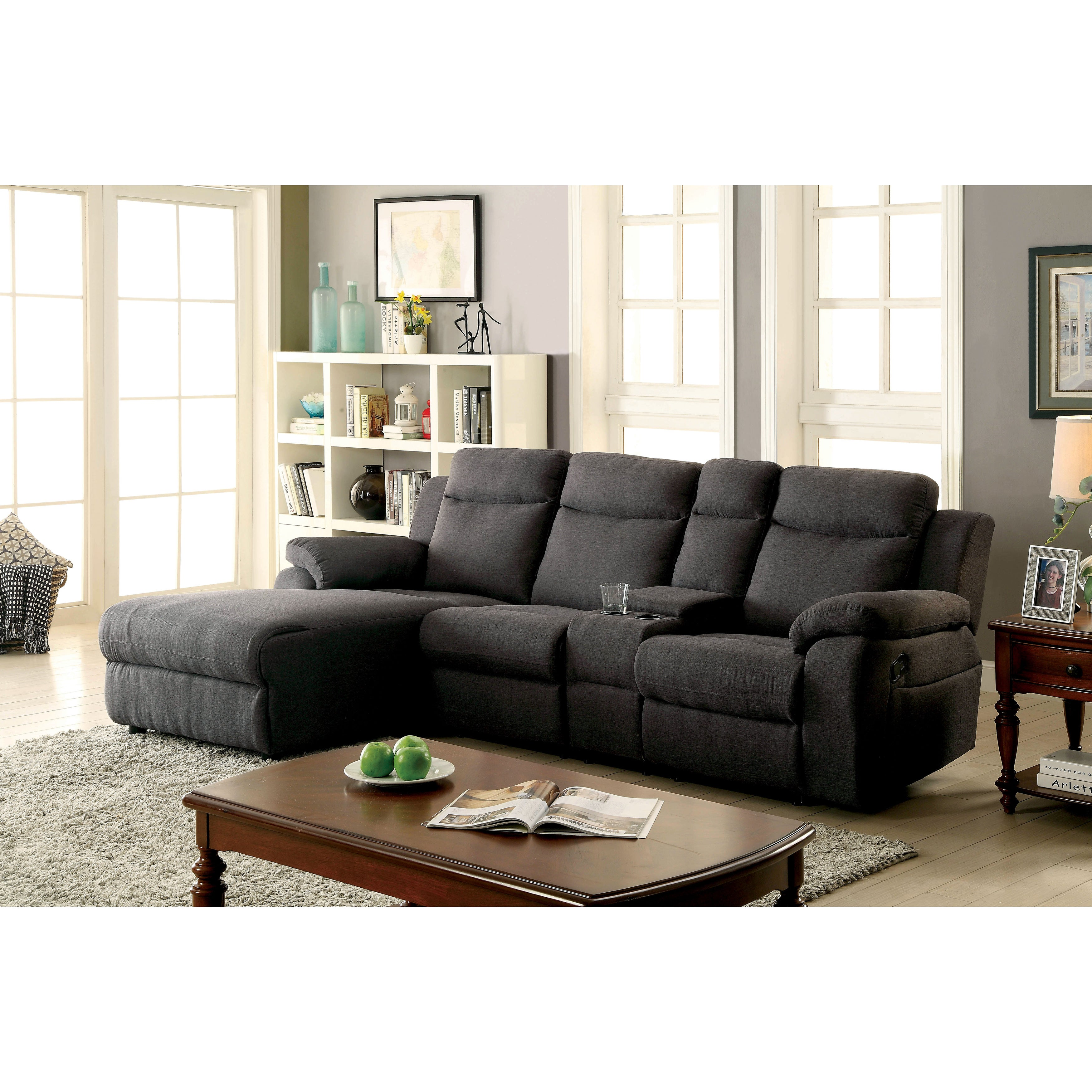 Pleasing Furniture Of America Sina Transitional Linen Like Fabric Reclining Sectional Andrewgaddart Wooden Chair Designs For Living Room Andrewgaddartcom