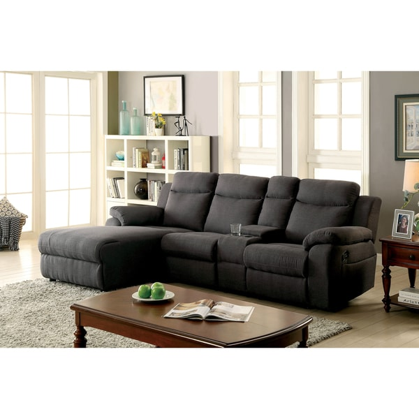 Shop Furniture Of America Sina Transitional Linen Like Fabric Reclining Sectional On