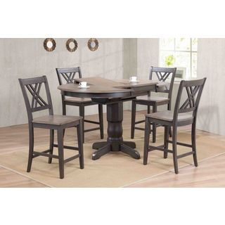 """Iconic Furniture Company 42x42""""x60 Antiqued Caramel/Biscotti Double X- Back Counter Height 5-Piece Dining Set"""