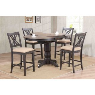 """Iconic Furniture Company 42x42""""x60 Antiqued Grey Stone/Black Stone Double X-Back Upholstered Counter Height 5-Piece Dining Set"""
