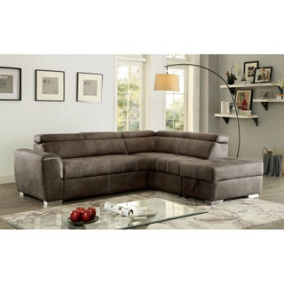Furniture of America Henley Contemporary Upholstered Storage Pullout Sleeper Sectional with Ottoman