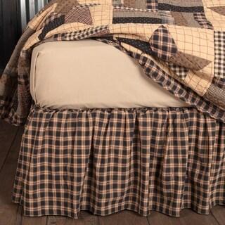 Black Americana Bedding VHC Bingham Star Bed Skirt Cotton Check Gathered