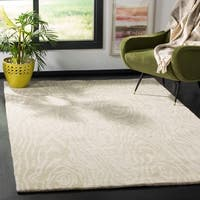Martha Stewart by Safavieh Layered Faux Bois Potter's Clay / Grey / Green Wool Area Rug - 4' x 6'