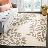 Martha Stewart by Safavieh Leaf Stamp Mushroom / Beige Wool Area Rug - 4' x 6'