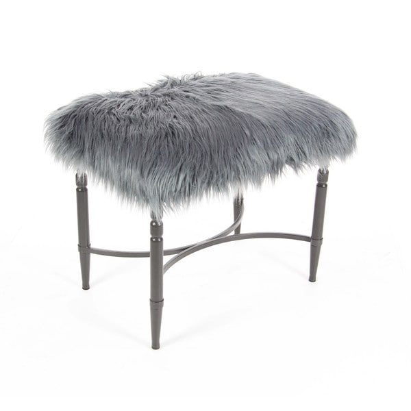Shop Benzara Grey Metal Faux Fur Stool Free Shipping