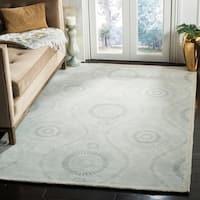 Martha Stewart by Safavieh Ogee Dot Spring Melt / Blue / Ivory Wool Area Rug - 4' x 6'