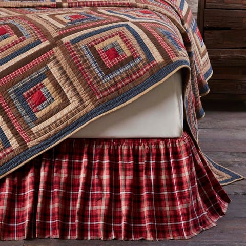 Red Rustic Bedding VHC Braxton Bed Skirt Cotton Plaid Gathered