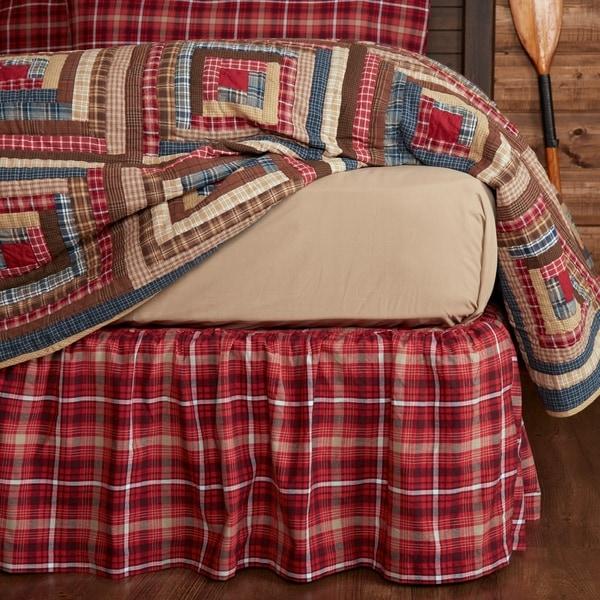 SOLID BURGUNDY King Bedskirt Dust Ruffle Rustic Primitive Red Skirt VHC Brands