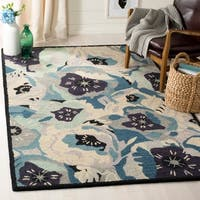 Martha Stewart by Safavieh Poppy Blue / Blue / Ivory Wool Area Rug - 4' x 6'