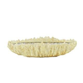Golden Eagle Beige Polyresin Elongated Coral Vase