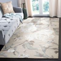 Martha Stewart by Safavieh Rose Chintz Bedford Grey / Ivory / Beige Wool Area Rug - 4' x 6'