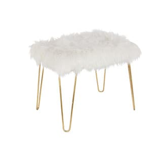 Benzara Gold Metal Fur Trendy Stool