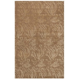 Martha Stewart by Safavieh Seaflora Sand / Brown Silk / Wool Area Rug (3'9 x 5'9)
