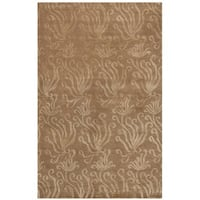 Martha Stewart by Safavieh Seaflora Sand / Brown Silk / Wool Area Rug - 3'9 x 5'9