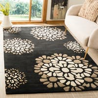 Martha Stewart by Safavieh Silhouette / Black / Beige Wool Area Rug - 4' X 6'