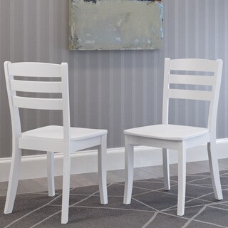 CorLiving Dillon White Solid Wood Dining Chair with Horizontal Slat Backrest (Set of 2)