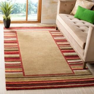 Martha Stewart by Safavieh Striped Border Lead Grey / Brown / Red Wool Area Rug (4' x 6')