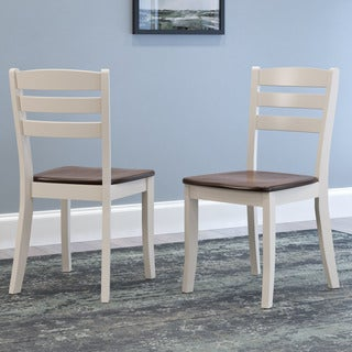 CorLiving Dillon Dark Brown and Cream Solid Wood Dining Chairs with Horizontal Slat Backrest (Set of 2)