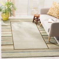 Martha Stewart by Safavieh Striped Border Tadpole Green / Beige / Green Wool Area Rug - 4' x 6'