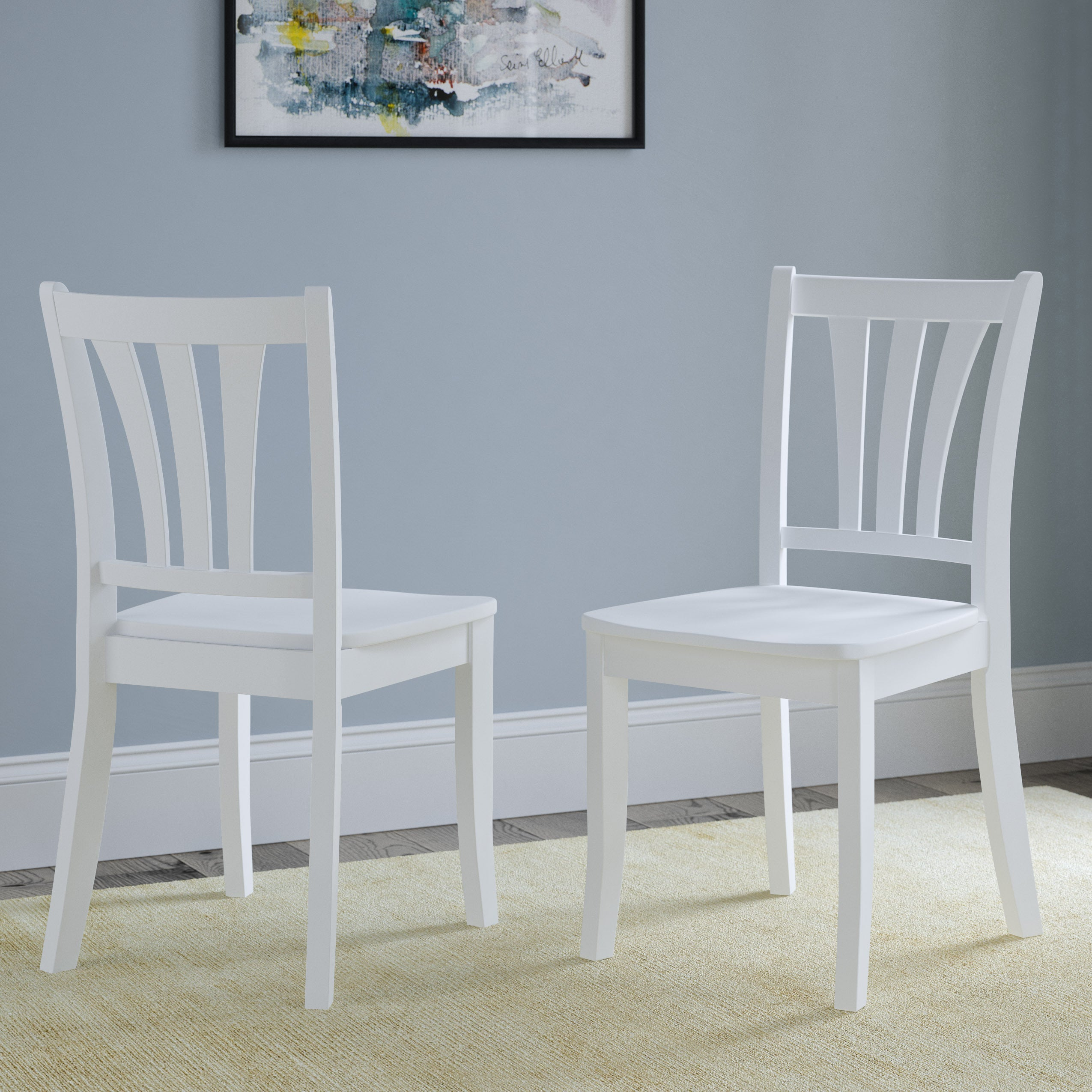 Corliving Dillon White Solid Wood Curved Vertical Slat Design Dining Chairs Set Of 2