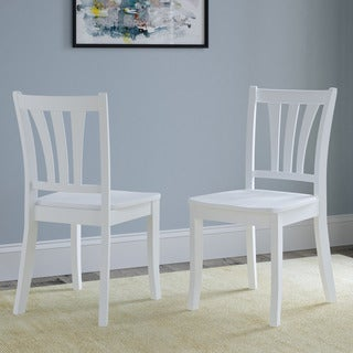 CorLiving Dillon White Solid Wood Curved Vertical Slat Design Dining Chairs (Set of 2)