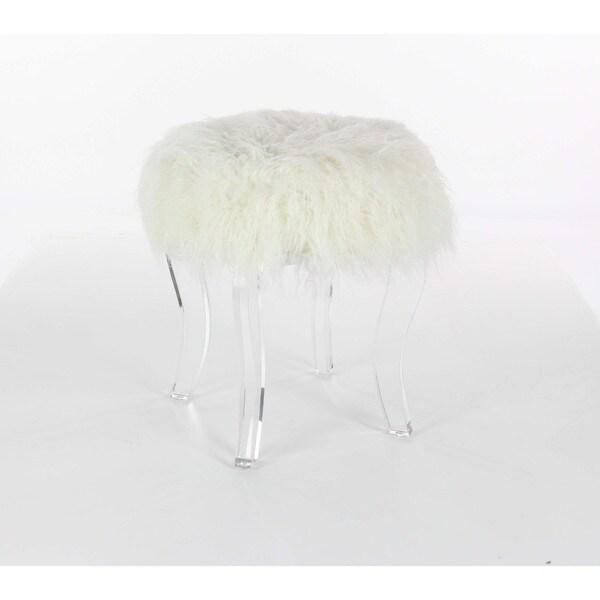 Benzara Enticing White Wooden Acrylic Fur Foot Stool