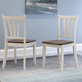 CorLiving Dillon Dark Brown and Cream Solid Wood Curved Vertical Slat Dining Chairs (Set of 2)