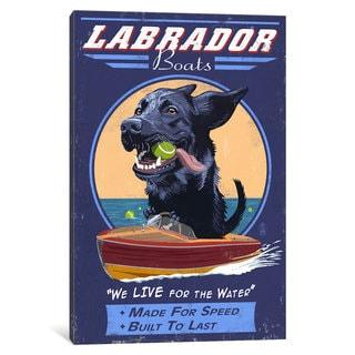 iCanvas 'Labrador Boats' by Lantern Press Canvas Print