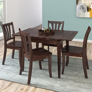 CorLiving Dillon Cappuccino Stained Solid Wood 5-Piece Extendable Dining Set