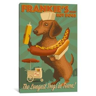 iCanvas 'Frankie's Brand Hot Dogs' by Lantern Press Canvas Print