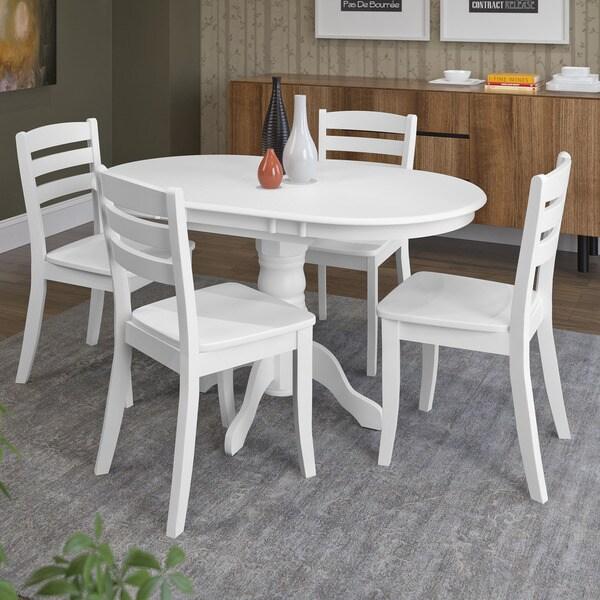 Archibald 7 Piece White Dining Set: Shop CorLiving Dillon White Rubberwood 5-piece Extendable