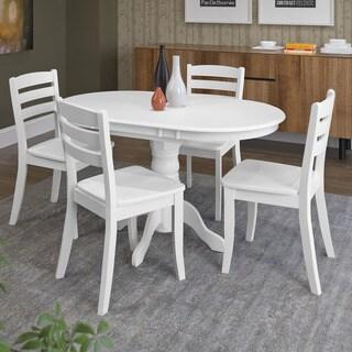 CorLiving Dillon White Rubberwood 5-piece Extendable Dining Set