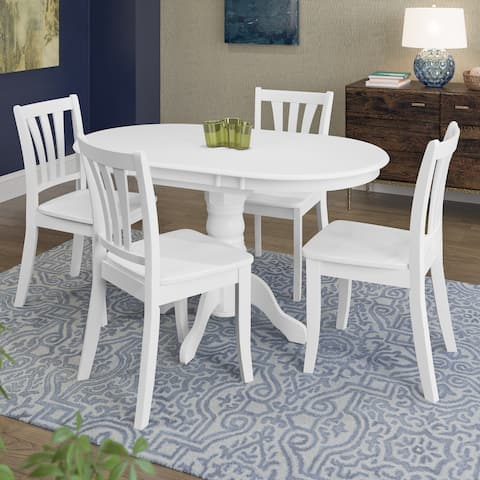Copper Grove Korcula White Wood 5-piece Extendable Dining Set
