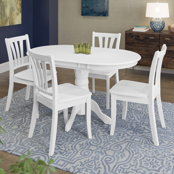 White Kitchen Dining Sets: Shop CorLiving Dillon White Wood 5-piece Extendable Dining