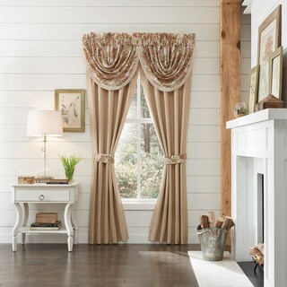 Croscill Camille Tan Cotton 84-inch Camille Rod Pocket Curtain Panel Pair - N/A