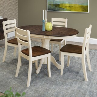 CorLiving Dillon 5-piece Extendable Dark Brown and Cream Solid Wood Dining Set