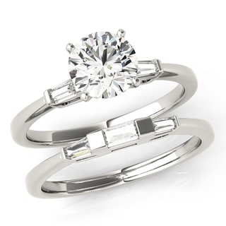 Scintilenora Classic Tapered GIA Certified Diamond Bridal Wedding Set 18k Gold 1 1/2 TDW
