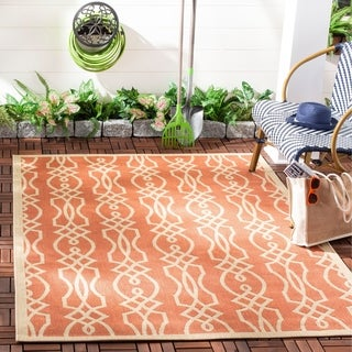 Martha Stewart by Safavieh Villa Screen Cinnamon Stick / Pink Area Rug (4' x 5'7)