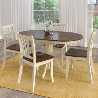 Copper Grove Korcula Dark Brown and Cream Solid Wood Extendable 5-piece Dining Set
