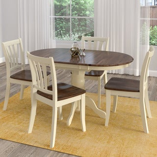 CorLiving Dillon Dark Brown and Cream Solid Wood Extendable 5-piece Dining Set