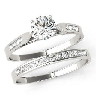 Scintilenora Petite Curve GIA Certified Diamond Bridal Wedding Set 18k Gold 1 1/2 TDW