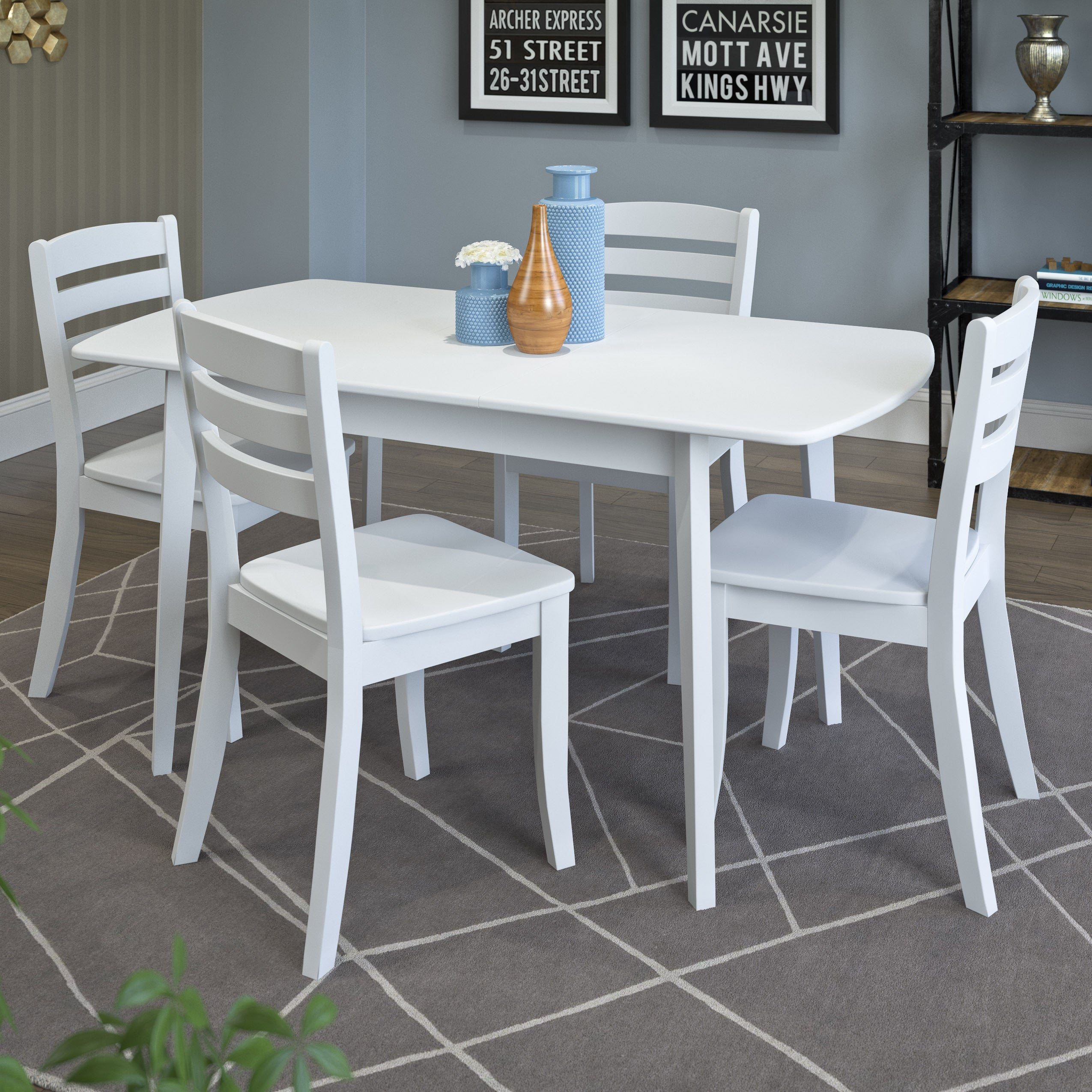CorLiving Dillon Wood Extendable Dining Table and Chairs ...