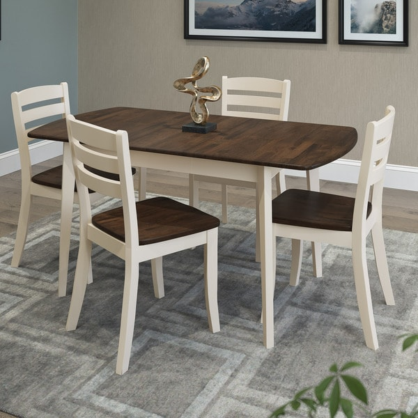 Dark Wood Dining Set: Shop CorLiving Dillon Dark Brown And Cream Rubberwood 5