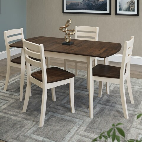 CorLiving Dillon Dark Brown and Cream Rubberwood 5-piece Dining Set