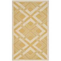 Martha Stewart by Safavieh Woven Lattice Gold / Ivory Wool Area Rug - 3' x 5'