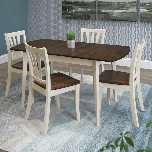 Pleasing Shop Corliving Dillon Walnut And Cream Rubberwood 5 Piece Inzonedesignstudio Interior Chair Design Inzonedesignstudiocom
